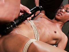 Seilgebundene Nikki Darling wird doppelt in ihre Ebenholzfotze penetriert